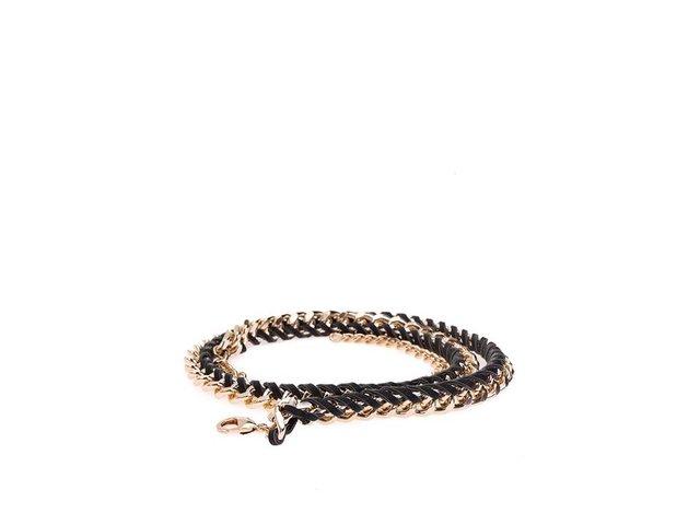 Černý úzký pásek s řetízkem ve zlaté barvě Pieces Rapunzel