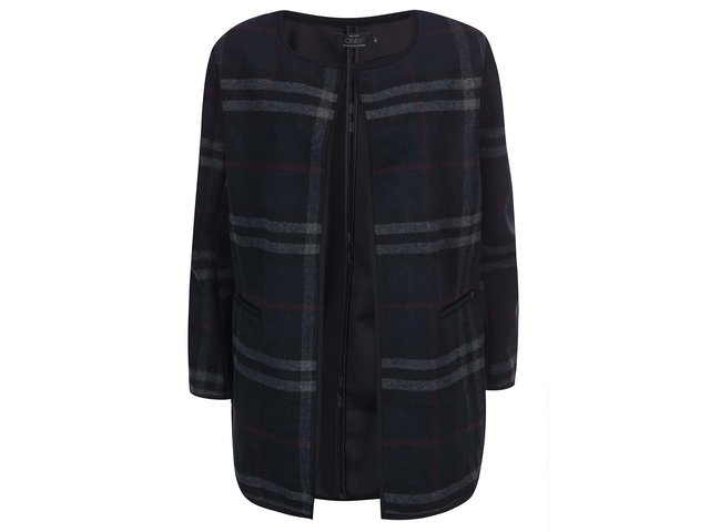 Tmavě modrý kostkovaný kabát ONLY Anni
