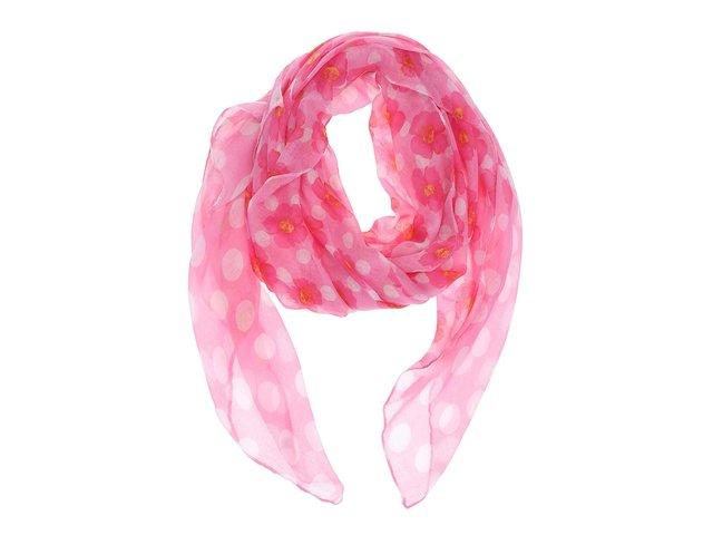 Růžový šátek s puntíky a květy Joe Cool