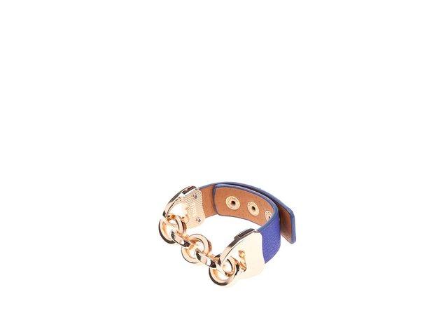 Tmavě modrý náramek s řetízkem ve zlaté barvě Joe Cool