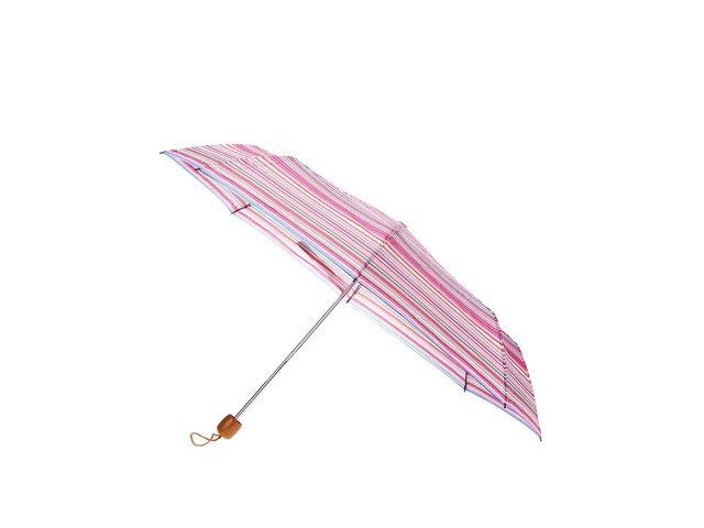 Zeleno-modro-růžový pruhovaný deštník Joe Cool