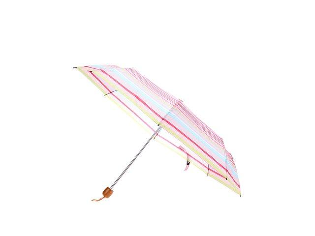 Zářivě růžový pruhovaný deštník Joe Cool