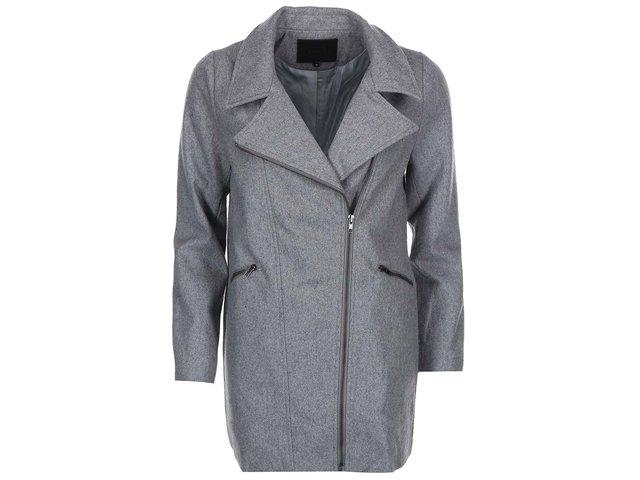 Šedý vlněný kabát na zip Lavand