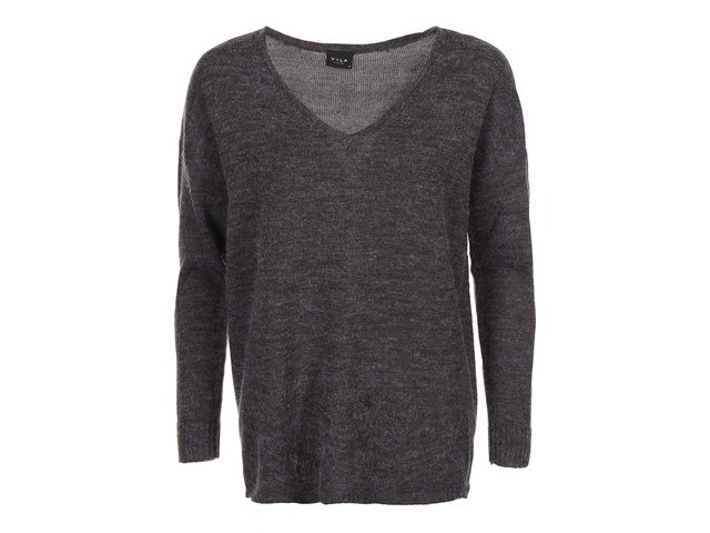 Tmavě šedý žíhaný svetr s véčkovým výstřihem VILA Riva