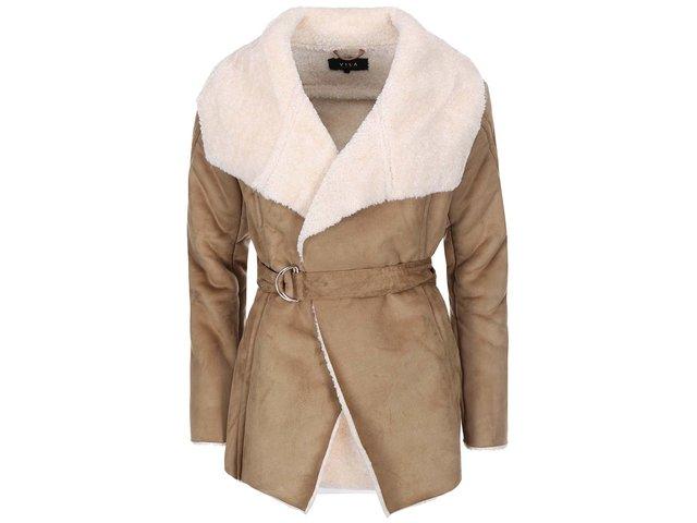 Světle hnědý kratší kabát s umělým kožíškem VILA Aviate