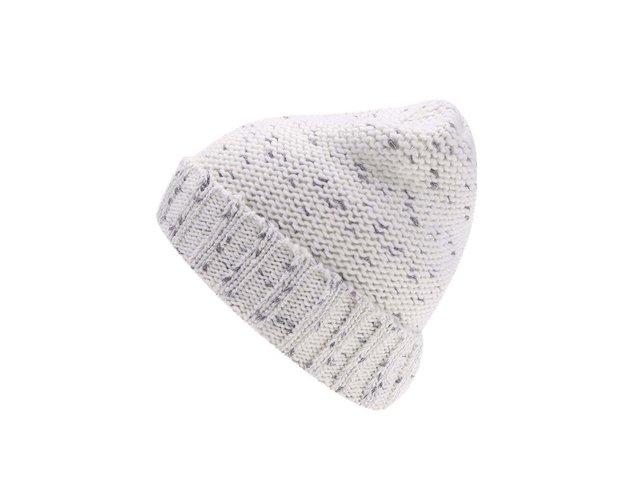 Bílá pletená čepice s černostříbrným žíháním Vero Moda Guro