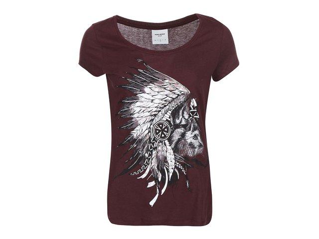 Vínové tričko s indiánským potiskem Vero Moda Dora