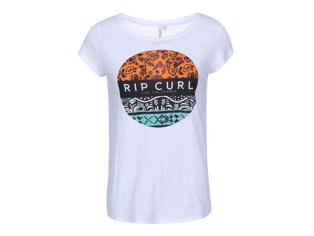 Bílé dámské triko barevným potiskem Rip Curl Izia