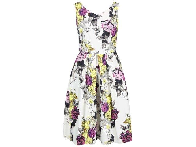 Krémové šaty s barevnými květy Closet