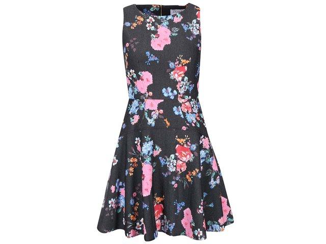 Tmavě šedé šaty s barevými květy Closet