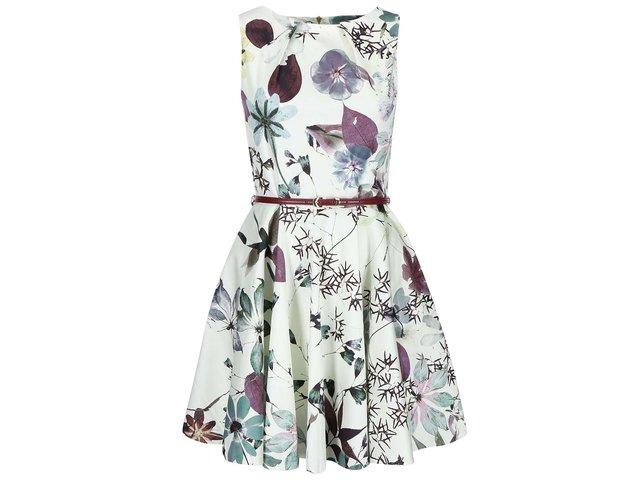 Krémové šaty s květy a vínovým páskem Closet
