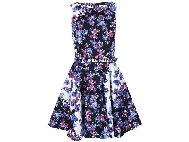 Bílo-modré šaty s květy Closet