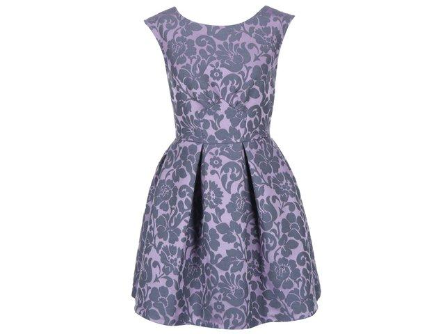 Fialové šaty s plastickým vzorem Closet