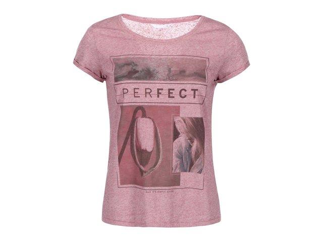 Růžové tričko s potiskem ONLY Milla