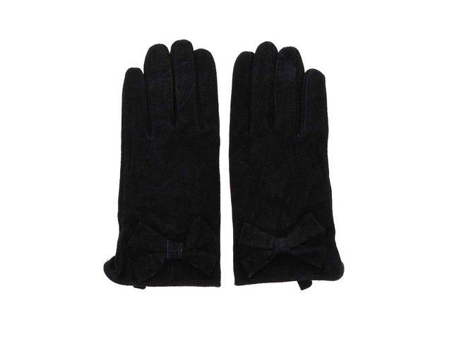 Černé kožené rukavice s mašličkou Pieces Comet