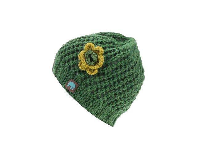 Zelená pletená čepice s kytkou Tranquillo Igai