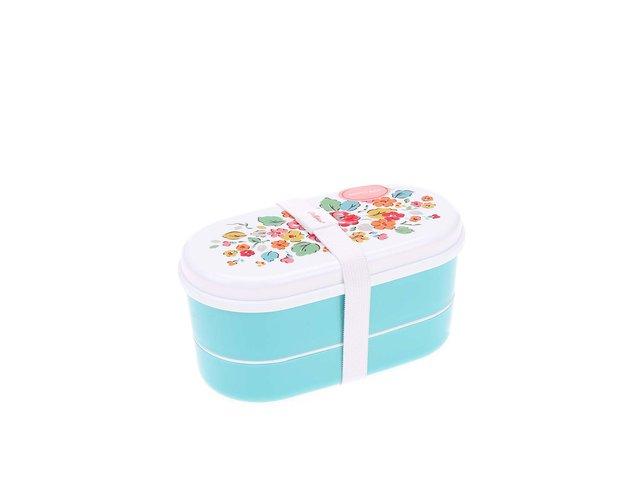Tyrkysový box na jídlo s květovaným víčkem Cath Kidston