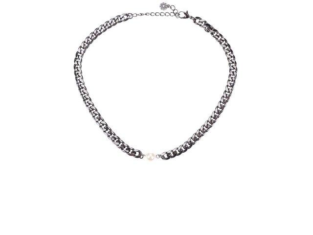 Náhrdelník v tmavě šedé barvě s perličkou Pieces Enija