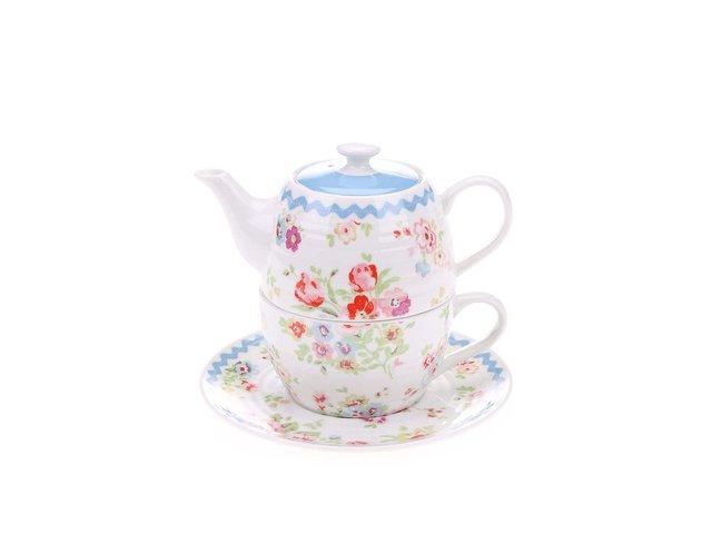 Bílý čajový set s květinovým motivem Cath Kidston