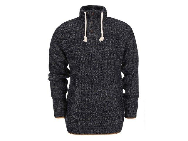 Tmavě šedý žíhaný svetr s rolákem !Solid Spence