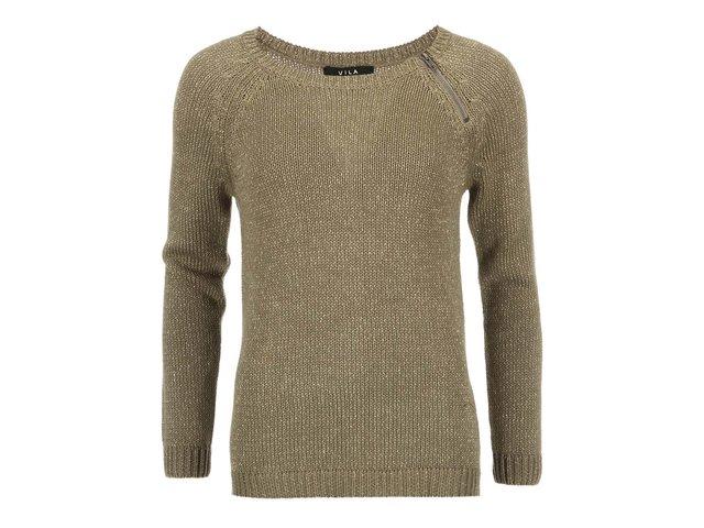 Khaki svetr proplétaný třpytivou nití VILA Frozen