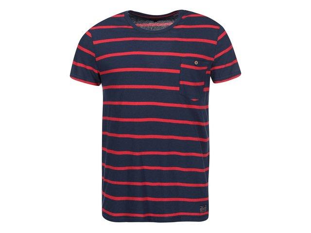 Tmavě modré triko s červenými pruhy !Solid Servando