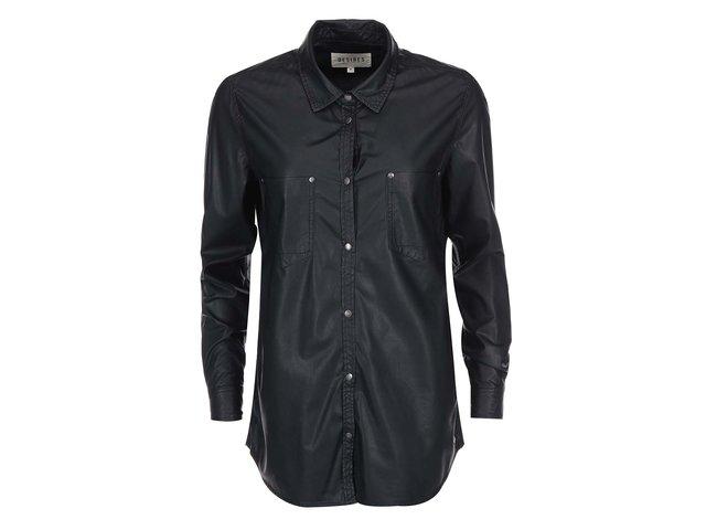 Černá koženková delší košile Desires Rocker