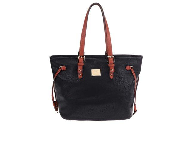Černá kabelka s hnědými detaily Gionni Alina