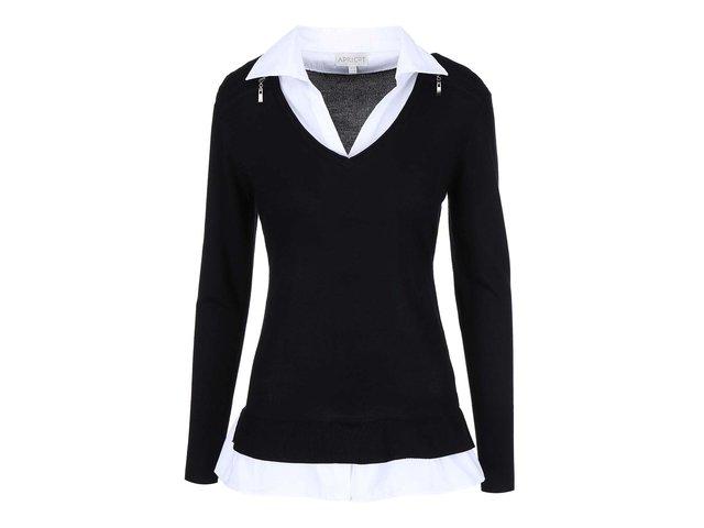 Černý svetr s košilovým límečkem Apricot