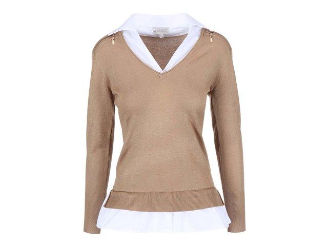 Béžový svetr s košilovým límečkem Apricot