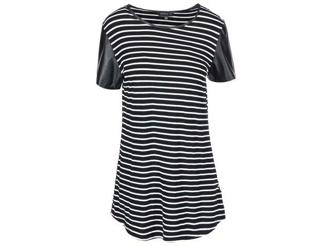 Bílo-černé proužkované šaty s koženkovými rukávy Apricot