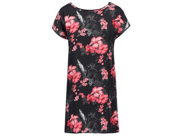 Černé šaty s tropickým vzorem Apricot