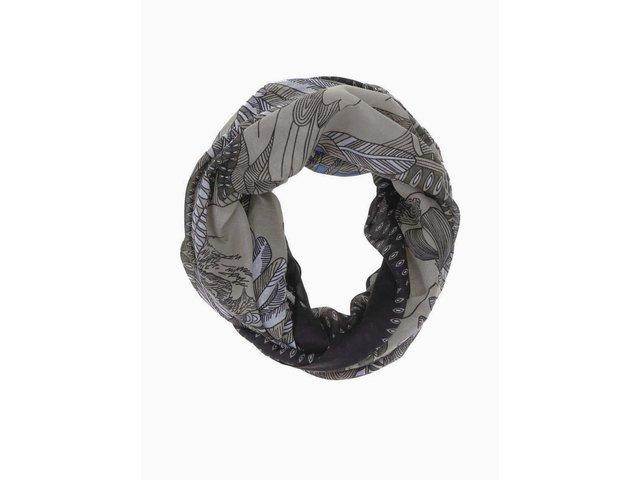 Černo-hnědý vzorovaný dutý šátek Pieces Ritt