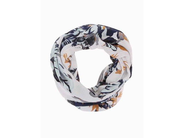 Šedý květovaný dutý šátek Pieces Ni