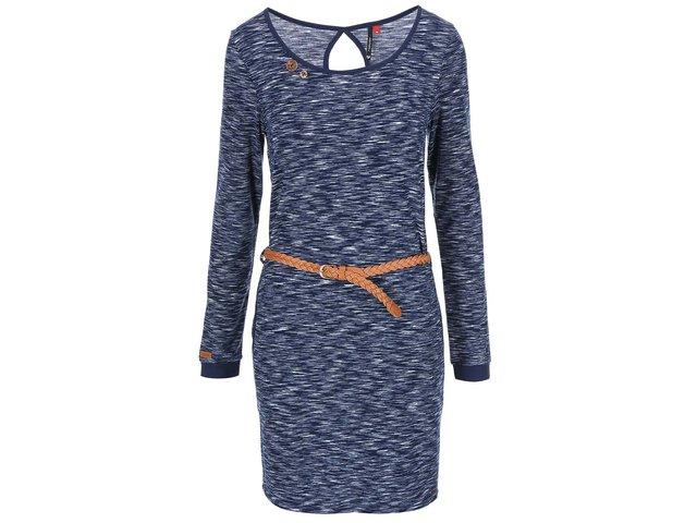 Šedo-modré žíhané šaty s hnědým páskem Ragwear Loco