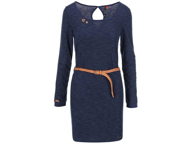 Modré žíhané šaty s hnědým páskem Ragwear Loco