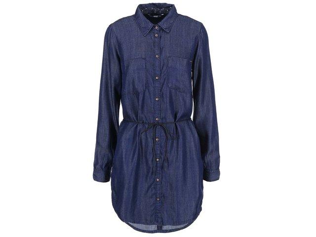 Tmavě modré denimové šaty se zavazováním v pase ONLY Henna