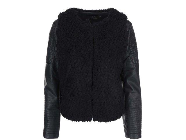 Černá bunda s koženkovými rukávy ONLY Noemi