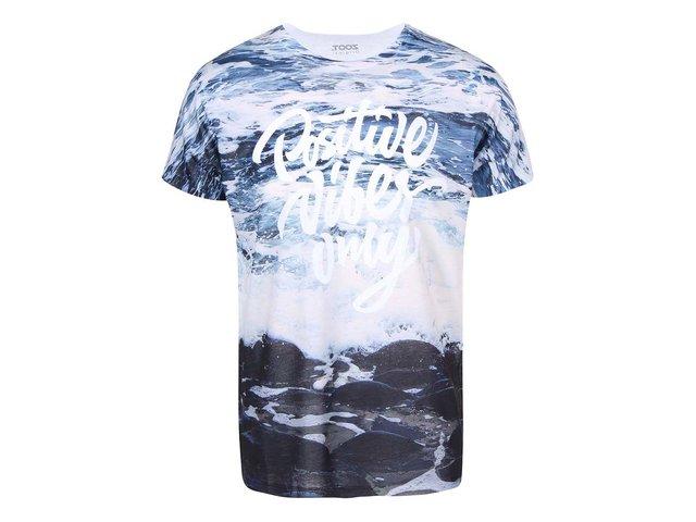Krémovo-modré pánské triko s potiskem ZOOT Originál Moře