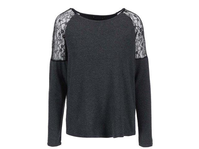 Tmavě šedé žíhané tričko s krajkovými detaily ONLY June