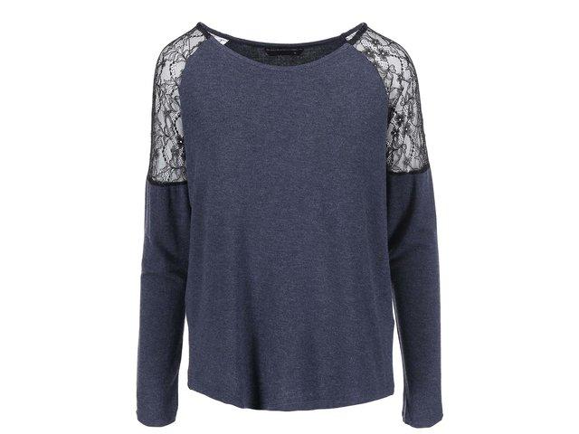 Tmavě modré žíhané tričko s krajkovými detaily ONLY June
