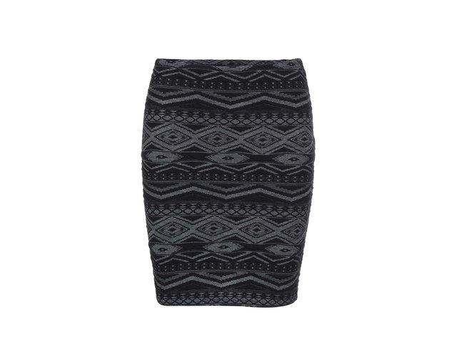 Šedo-černá vzorovaná sukně ONLY Vigga