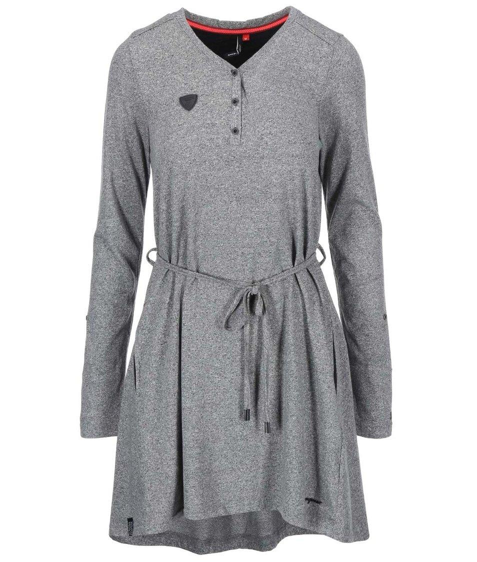Šedé šaty s dlouhým rukávem Ragwear Sista