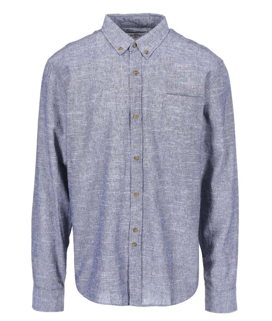 Modrošedá pánská lněná košile Bellfield Cairo