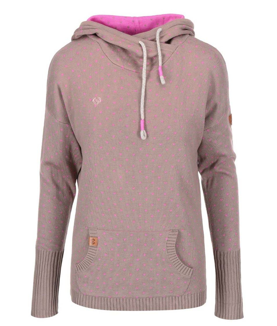 Růžovo-hnědý dámský svetr s kapucí Ragwear Samui