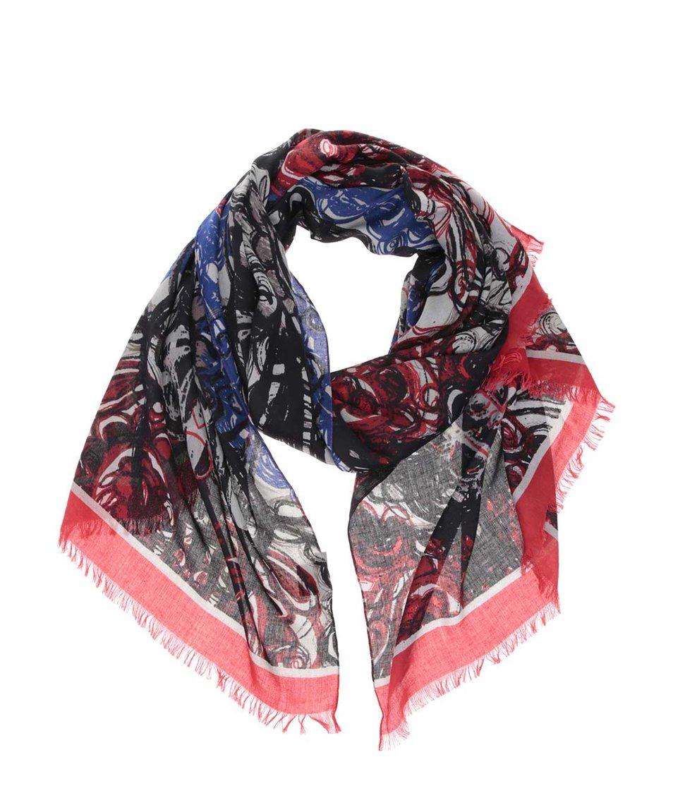 Červeno-modro-černý vzorovaný šátek INVUU London