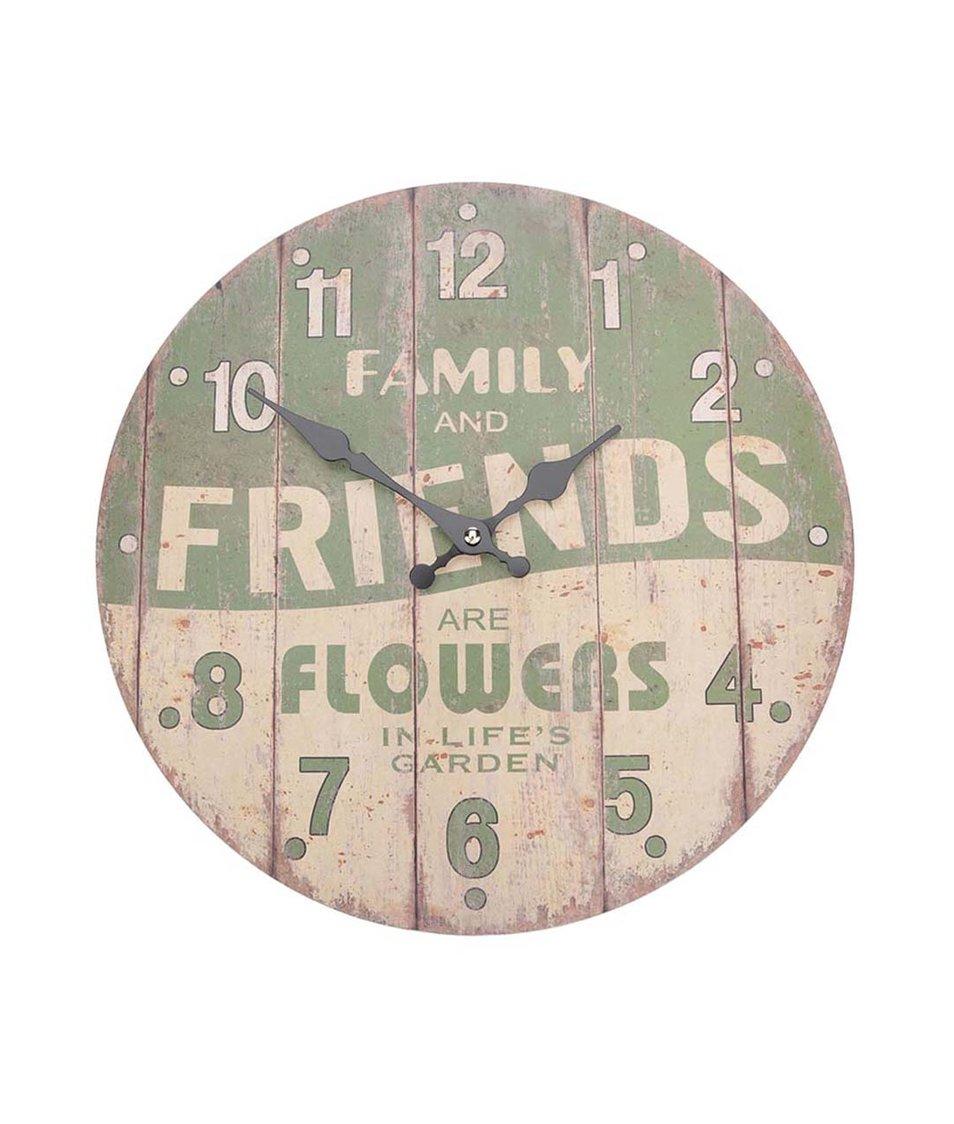 Zelené dřevěné hodiny Dakls Family And Friends