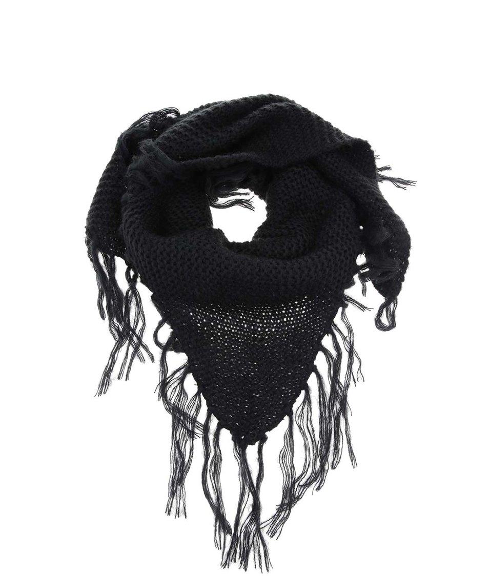 Černá šála s třásněmi Vero Moda Hyben