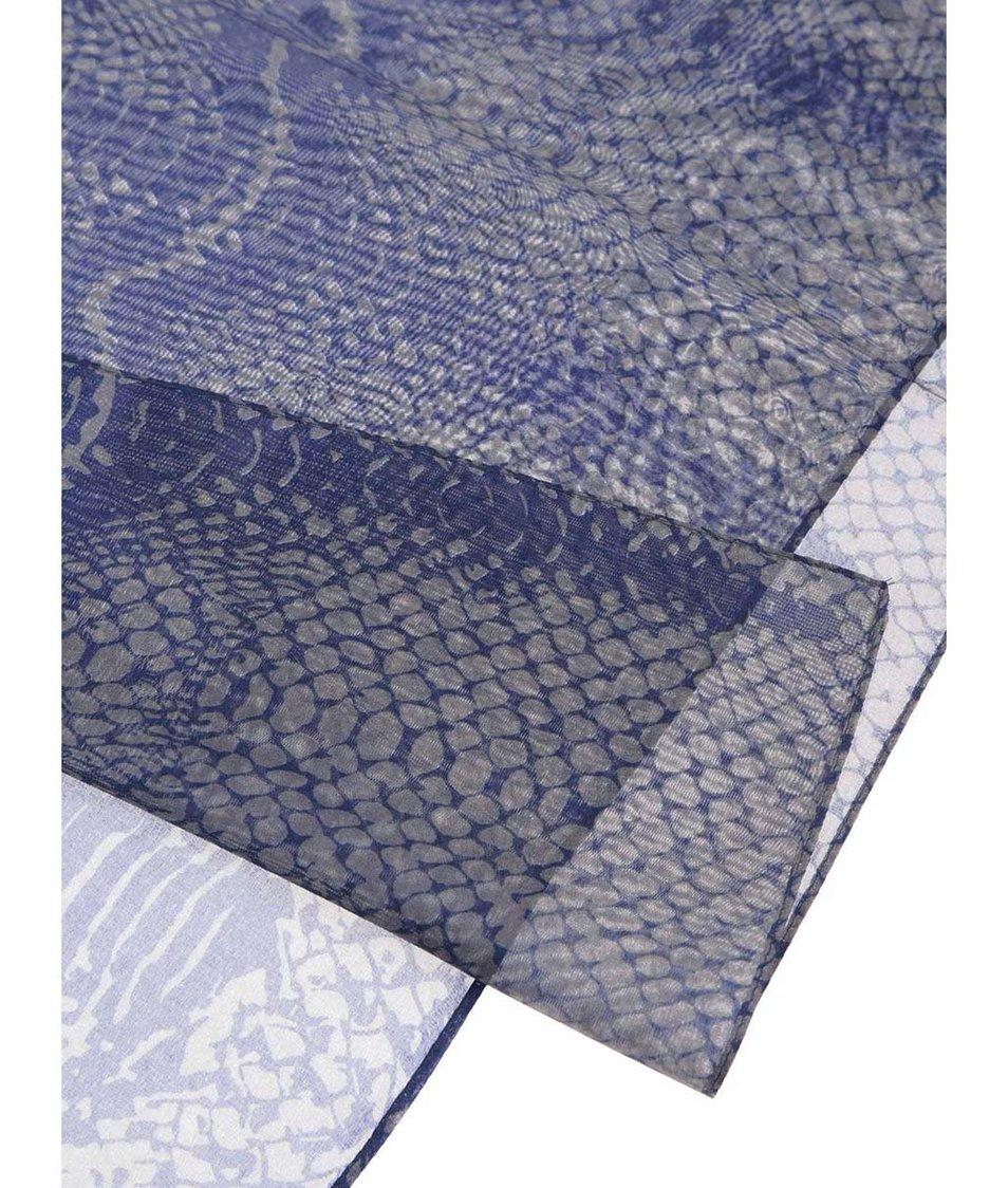 Šedo-modrý vzorovaný šátek INVUU London - SLEVA!  4091ea39b5