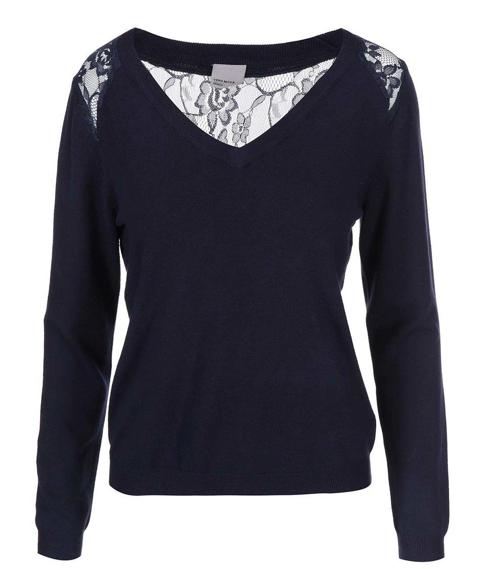 Tmavě modrý svetr s krajkou na zádech Vero Moda Glory